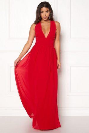 Rød lang festkjole