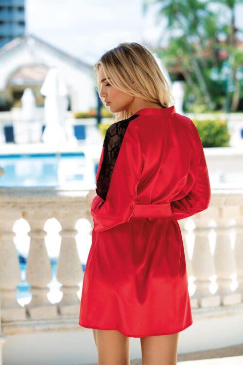 Rød silkemorgenkåbe