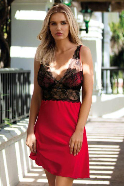 Rød sexet satinnatkjole