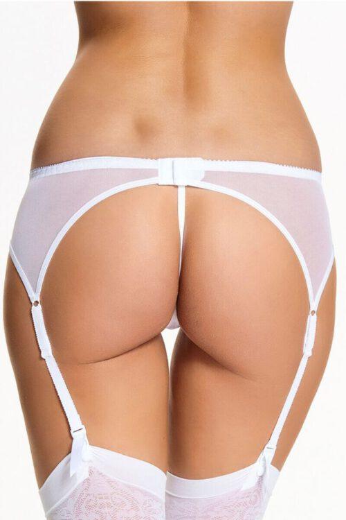 Hvid strømpebåndsholder / hofteholder i et blondestof - TopLady