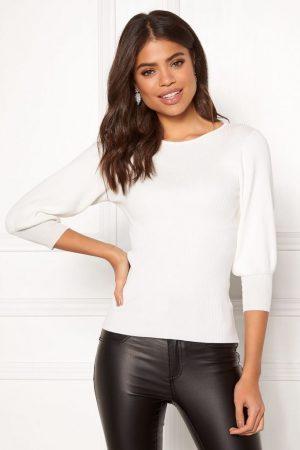 Ribstrikket trøje Hvid