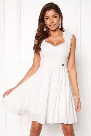 Hvid blondekjole - Hvid flot blondebeklædt kjole - TopLady