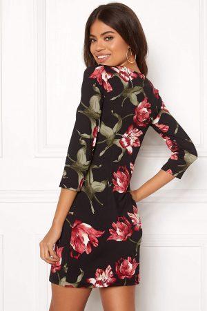 Jerseykjole med smukt mønster og 3/4-lange ærmer - TopLady