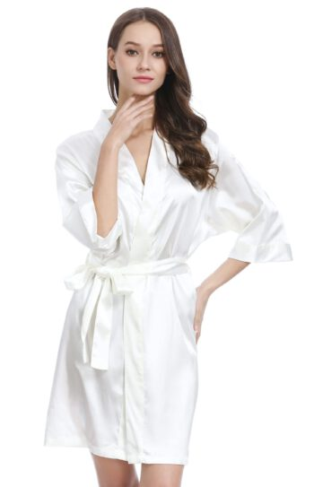 Sexig och lyxig vit silkesmorgonrock - TopLady